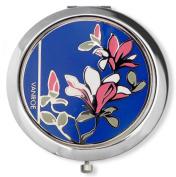 Vanroe 'Magnolia in Blue' Designer Enamel Compact Mirror in Gift Box - New Baby, Bridesmaid Idea, Magnified, Engravable