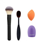 Makeup Brush, Oval Cosmetic Cream Powder Blush Makeup Tool, Glove MakeUp Washing Cleaning Brush Scrubber Board and Light Orange Makeup Sponge Puff - A MONEY SAVING SET Huewind®