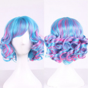 Tenflyer 35cm Fashion Sexy Fluffy Ladies Synthetic Wig Women Tilted Frisette Short Hair Cosplay Wigs Girl Rose Red Blue Mix