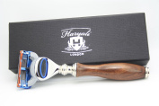 Gillette Fusion Wooden handle Razor Design by Haryali London with branded box Gift for Men