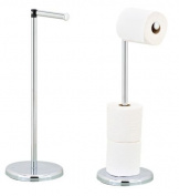 FREE STANDING CHROME TOILET ROLL HOLDER WITH SWIVEL ACTION TO HOLD EXTRA ROLL STORAGE