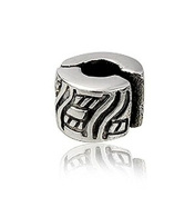 Aztec Pattern Clip-On Clasp Sterling Silver Charm Bead With Silicone - Pandora Style Stopper Bead For Charm Bracelets