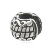CZ Set Ornate Scroll Clip-On Clasp Sterling Silver Charm Bead With Silicone - Pandora Style Stopper For Charm Bracelets