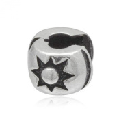 Embossed Sun Clip-On Clasp Sterling Silver Charm Bead With Silicone - Pandora Style Stopper Bead For Charm Bracelets