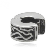 Oxidised Waves Clip-On Clasp Sterling Silver Charm Bead With Silicone - Pandora Style Stopper Bead For Charm Bracelets