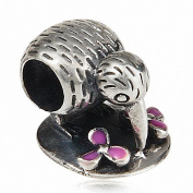 Hoobeads Kiwi Bird with Lavender Enamel Flower 25 Sterling Silver Charms Bead