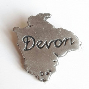 Devon Outline Handcrafted From English Pewter Lapel Pin Badge + Gift Bag