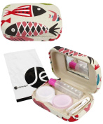 JAVOedge Beige Fish Pattern Fabric Contact Lens Travel Kit with Built In Mirror, Solution Bottle, and Tweezers