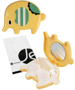 JAVOedge Yellow Cute Striped Elephant Shaped Plastic Contact Lens Travel Kit with Mirror and Tweezers