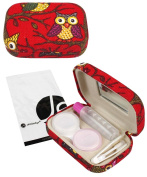 JAVOedge Red Owl Print Contact Lens Travel Kit with Mirror, Solution Bottle, Tweezers and Twist Top Caps
