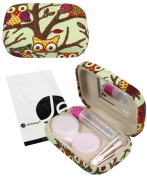 JAVOedge Mint Owl Print Contact Lens Travel Kit with Mirror, Solution Bottle, Tweezers and Twist Top Caps