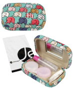 JAVOedge Elephant Print Fabric Travel Contact Lens Case Kit
