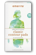 Emerita Natural Cotton Classic Contour Pads, 16 Ct