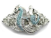 Barrette Mermaid Seahorse Aqua Light Blue Rhinestone Crystal