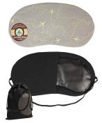 JAVOedge Grey Aeroplane Design Soft Eye Mask for Sleeping, Travel with Elastic Band and Bonus Drawstring Storage Bag