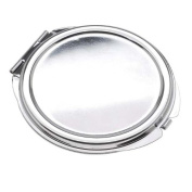 Silver Tone Compact Mirror With Bezel Leaf And Flower Patterns - 61.5mm