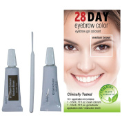 28 Day Eyebrow Colour Medium Brown - Gel Colourant Covers Resistant Greys