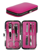 Pink 6 Piece Manicure / Pedicure Travel Grooming Kit (Nail Clipper, Scissors, Trimmer) with Bonus Reusable Toiletry Bag