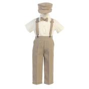 Lito Baby Boys Khaki Suspender Pants Hat Outfit Set 6-12M