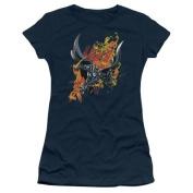 Trevco Dark Knight Rises-Fire Rises - Short Sleeve Junior Sheer Tee - Navy, Small