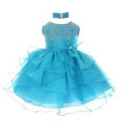 Baby Girls Turquoise Organza Rhine studs Bow Flower Girl Dress 18M