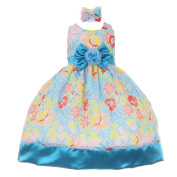 Baby Girls Turquoise Sash Multi Coloured Easter Special Occasion Dress 18M