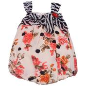 Bonnie Jean Baby Girls Coral Rose Black Dot Stripe Print Onesie Dress 6-9M