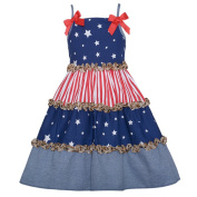 Bonnie Jean Girls 6M Patriotic Stars Stripe Leopard Ruffle Sundress