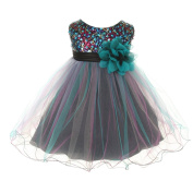 Kids Dream Baby Girls Teal Multi Sequin Tulle Special Occasion Dress 6M