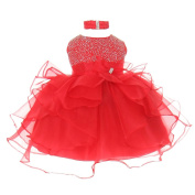 Baby Girls Red Organza Rhine studs Bow Sash Flower Girl Dress 24M