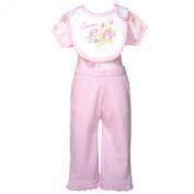 Mon Cheri Baby Girl 3-6M Light Pink Roses 3 Pc Layette Bib Set