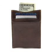 Tony Perotti Mens Italian Bull Leather Spring Tension Money Clip with Credit Card Slot in Cognac