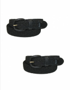CTM® Size Large Mens Elastic Covered Buckle Braided Stretch Belt (Pack of 2), Black