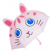 Kiddi Choice 3D PopUp Cute Umbrella, Blue Eye Cat Pink