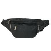 Unisex Leather Extra Large Fanny Waist Pack with Nylon Strap