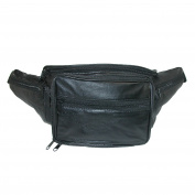 CTM Unisex Leather Large Organiser Fanny Waist Pack