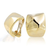 Bling Jewellery Gold Plated Hammered Huggie Hoop Clip On Earrings