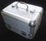 Sparkly Silver Aluminium Beauty Make up Vanity Case Box Nail hair Box