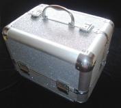 Sparkly Silver Aluminium Beauty Make up Vanity Case Box Nail hair Box
