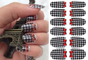 Nail Art Stickers Full Wrap Lattice With Red Butterfly Nail Sticker Tattoo - FashionLife
