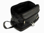 Mens Rowallan Black Leather Top Frame Wash Bag Travel Toiletries Travel Stylish