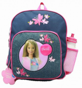 Small Backpack - Barbie - w/ Water Bottle Denim Flowers New School Bag 17444