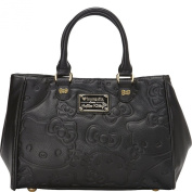 Loungefly Hello Kitty Large Face Embossed Black Double Handle Bag
