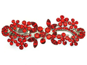 Red Hair Barrette Clip Floral Bridal Bridesmaid Flower girl Wedding Party Prom