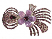 Amethyst Colour Rhinestone Crystal Flower Hair Barrette G154