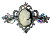 Clear Ab Rhinestone Crystal Portrait Cameo Hair Barrette L60