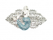 Mermaid Hair Barrette Gorgeous Aqua Light Blue Rhinestone Crystal