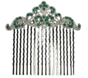 Green Hair Comb Emerald Colour Crystal Bridal Bridesmaid Wedding Party Prom