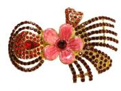 Red Rhinestone Crystal Flower Hair Barrette F205