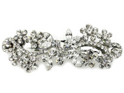 Hair Barrette Clear Crystal Bridal Bridesmaid Flower Girl Wedding Party Prom